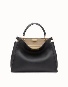 Black and beige leather handbag - PEEKABOO ESSENTIAL  65e47a8a13bdf