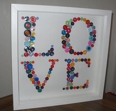 Button crafts.  This would be a fun idea for decorating the sewing room. To write SEW