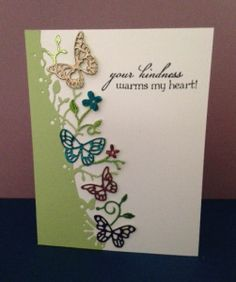 Thank you card using Kensington Border by Memory Box. Foil added to butterflies and flowers.