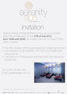 Reminder: Serenity Spa at St Raphael Resort Promotional Day. 27.07.2012. 2pm - 8pm. Look forward to seeing you there.