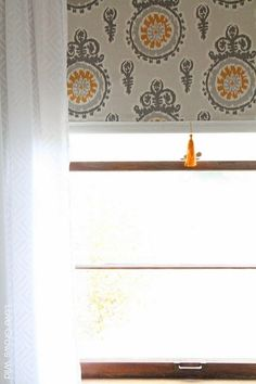 Diy fabric roller shade one room challenge week3 spray glue fabric covered roller shades with handmade tassel solutioingenieria Images