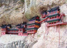 The Hanging Temple or Hanging Monastery stands at the foot of Mt. Hengshan, 5 kilometers (3 miles) south of Hunyuan County, and 65 kilometers (40 miles) from downtown Datong City. Hangs on the west cliff of Jinxia Gorge more than 50 meters above the ground.