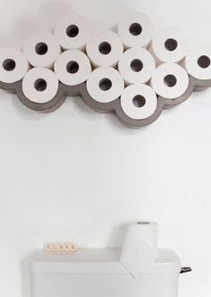 Our concrete Cloud Toilet Paper Shelf by French label Lyon Beton will bring a little fun and humour to your bathroom. Buy at Lime Lace for fast free delivery More bathroom Diy Bathroom, Toilet Paper, Shower Room, Wall Mounted Toilet, Small Toilet, Cloud Toilet Paper Holder, Downstairs Bathroom, Bathroom Design, Bathroom Decor
