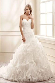 Nice eddy k bridal strapless sweetheart surplice pleated bodice ruffle skirt drop waist a line wedding dress mv romantic