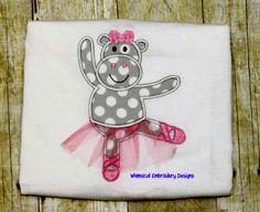 Hippo Ballerina In the Hoop Design
