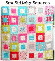 Free Beginner Easy Quilt Pattern   http://www.sameliasmum.com/2013/03/sew-stitchy-squares-quilt-tutorial.html#.UuOD2hDnbIX