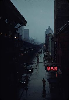 Esther Bubley. View from an elevated train platform. New York City. c 1951.