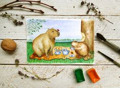 Capybara and beaver watercolor, woodland nursery art, capybara original, small size painting, fairy tale card, painting for childrens room