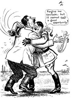 Cartoon of Hitler stabbing Stalin in the back. They signed a Non Aggression Pact in 1939 then Hitler invaded the Soviet Union in History Cartoon, Ww2 History, History Memes, History Posters, History Class, Teaching History, Ww2 Propaganda Posters, Modern World History, European History