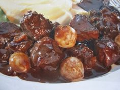 Beef bourguignon, cooking at low temperature - recette - # Couscous, Crockpot, Sausage, Beef, Fruit, Cooking, Ethnic Recipes, Food, Nouvel An