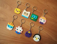 Adventure Time Keyrings!! Hama beads perler beads 8bit