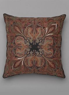ANICHINI | Exclusively from our Rare Finds Collection - the Afsanna pillow is deep, dark and mysterious. The lush coloration and deeply ridged motif harkens back to age of the Mogul rulers. Made entirely of silk and embroidered by hand. DIVINE