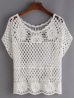 """Shop Hollow Out Crochet Top - White online. SheIn offers Hollow Out Crochet Top - White & more to fit your fashionable needs."", ""We are a crochet sto Pull Crochet, Crochet Shirt, Crochet Jacket, Crochet Cardigan, Crochet Tops, Hat Crochet, White Crochet Top, Free Crochet, Crochet Baby Blanket Sizes"