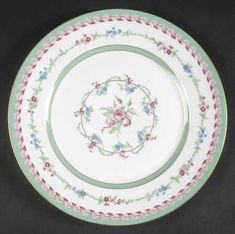 """Marie Antoinette"" china pattern with pastel green edge, light blue flowers, & pale pink roses from Haviland."