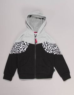 This Little Marc Jacobs Zebra Zip hoody in black has light grey panel to the hood and top of the chest as well as black and white zebra and leopard print panels to the arm surrounds. Hoody, Zip Hoodie, Little Marc Jacobs, Lacy Tops, Leopard Print Top, Jacob Black, Junior Outfits, Airport Style, Hooded Sweatshirts