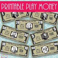 Printable play money...they have Christmas play money too!