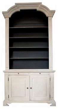 Piere Hutch, White Weathered Noir - traditional - bookcases cabinets and computer armoires - - by Clayton Gray Home