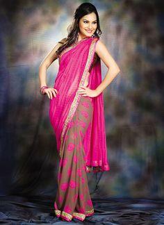 Mystic brown and #pink #georgette half n half #saree
