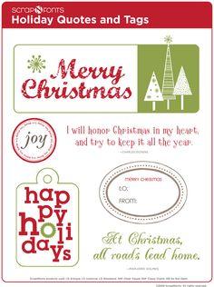 scrapNfonts - scrapbooking fonts, cute fonts, scrapbook fonts, digital scrapbooking - Free Christmas Quotes and Tags