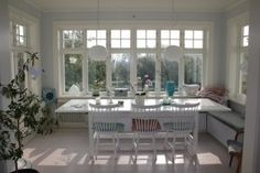 Right concept. Too big. like just enough room single bed or chaise Country House Interior, House Inspiration, Cottage Dining Rooms, House Windows, House, Cottage Decor, Interior Design, Home Decor, Swedish Decor