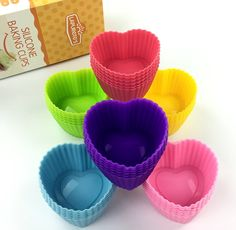 Lapuretes ® 36-pack Cupcake Liners-Silicone Reusable Cupcake and Muffin Baking Cup-No BPA,Six Vibrant colors. (Heart) -- Want to know more, visit : baking essentials
