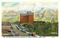 Ogden Utah UT 1930 City Hall Park Hotel Bigelow Mt Ogden Vintage Postcard
