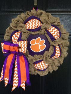 Clemson University Burlap Wreath  16 by CMACraftsandDesigns, $45.00