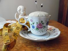 Antique Fine China Spring Night Teacup and Saucer Pincushion Green Fabric White Polka Dots, Pink & Blue Flowers Gold Trim Sewing Quilting by KylesUpcycle on Etsy