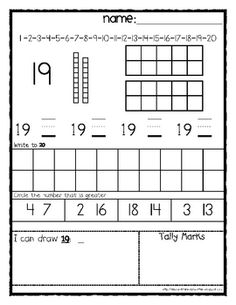Here's a set of kindergarten number recognition and value pages for the numbers 1 to 30. Includes ten frame, place value, tally marks, number words, and much more!
