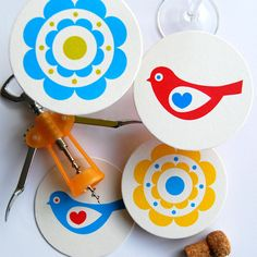 Set of 4 Drink Coasters. Hand Screenprinted and Illustrated with Contemporary Bird and Flower Designs