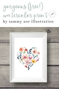 This beautiful watercolor print is free! Perfect for wall art, the floral pattern adds color. Would be beautiful for wedding invitations or other simple d�cor ideas that are affordable, DIY, and budget friendly!
