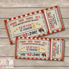 Get ready for the greatest show on Earth with this vintage-inspired circus invitation! Easily printed on white paper and will print out just like image; OR for added convenience, select the printed option and let us print and ship them to you! ------------------------------------------------------------------------------- ****ORDER PROCESS****  ♥STEP 1: Choose your invitation type: DIGITAL OR PRINTED (Digital available in 4x9 JPEG. Price for printed invitations includes printed 4x9…