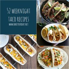 A roundup of Taco Recipes from around the web - 52 simple and pleasing taco recipes.