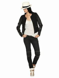 Berenice: Veste bi-matière en laine et cuir. Veste courte. Manches