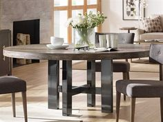 Shop this hooker furniture curata medium greige with black nickel wide round dining table from our top selling Hooker Furniture dining room tables. LuxeDecor is your premier online showroom for dining room furniture and high-end home decor. Black Round Dining Table, Round Dining Table Sets, Dining Table Design, Large Round Table, Large Dining Room Table, Round Tables, Dining Area, Dining Furniture, Hooker Furniture
