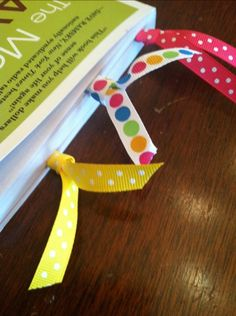 ribbon paperclip bookmarks
