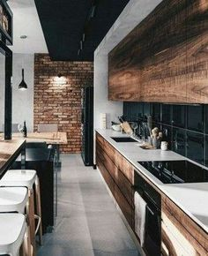 Modern Kitchen Interior 44 Modern Apartment Interior ideas that Grab Everyone's Attention Industrial Home Design, Industrial House, Industrial Interiors, Modern Kitchen Design, Interior Design Kitchen, Kitchen Industrial, Vintage Industrial, Interior Ideas, Modern Design