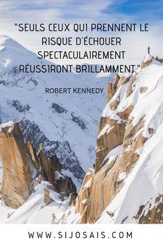 """Citation - """"Seuls ceux qui prennent le risque d'échouer spectaculairement, réussiront brillamment."""" ROBERT KENNEDY Image Citation, Strange Addictions, Robert Kennedy, Motivation, Positive Attitude, Success Quotes, Quotations, Affirmations, Positivity"""