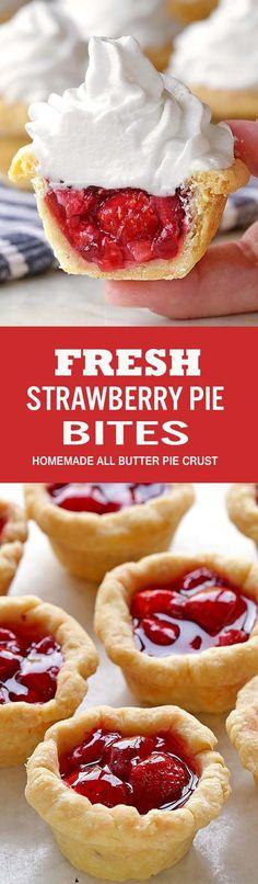 Fresh Strawberry Pie Bites Fresh Strawberry Pie Bites – a perfect way to make a bite-sized version of your favorite pie! Fresh Strawberry Pie, Strawberry Desserts, Mini Desserts, Just Desserts, Dessert Recipes, Fruit Dessert, Fruit Pie, Plated Desserts, Yummy Treats