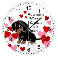 Black and Tan Smooth Haired Dachshund Wall Clock by Naomi Ochiai. Gifts for Valentine's Day! #Doxie #blackandtan #valentine #hearts