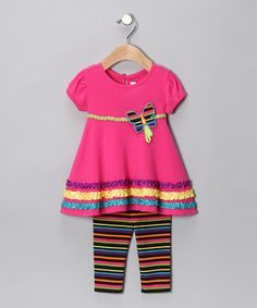 Take a look at this Pink Stripe Butterfly Dress & Leggings - Infant by Youngland on today! Children Outfits, That Look, Take That, Butterfly Dress, Kid Styles, Dresses With Leggings, Pink Stripes, Kids Fashion, Infant