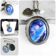 Handmade Resin Blue and Purple Cosmic Galaxy Opal Moonstone Big Oval Antique Bronze Locket Pendant Necklace http://www.etsy.com/shop/wflead http://www.etsy.com/shop/xiaostop http://www.etsy.com/shop/xtdesign