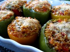 Another stuffed pepper recipe!  Looks like a nice Sunday meal.  I might try it with some cooked cubed chicken breasts.