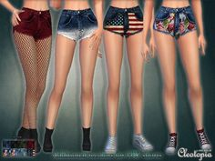 The Sims Resource: Set 35- High waisted Shorts with prints by Cleotopia • Sims 4 Downloads