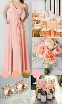 A gorgeous peach wedding palette for spring or summer weddings. | Kennedy Blue Bridesmaid Dress Anna
