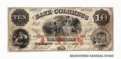 Georgia Obsolete Currency Bank of Columbus ten dollar banknote