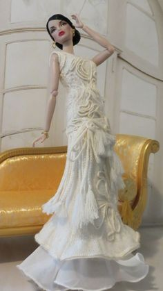 Francesca Doll Couture Knit- Fashion Royalty OOAK Gaultier Inspired Gown