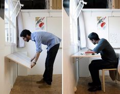 If you're tight on space, this is a great idea for adding a desk when you need one & hiding in plain sight when you don't. Where could you use this idea in your house?