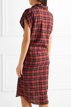 R13 - Tie-front Plaid Flannel Shirt Dress - Red -