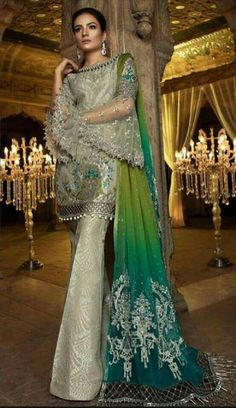 Check Out MARIA B Luxury Steel & Peacock Green Embroidered Chiffon Collection Replica at Master Replica Pakistan Call/WhatsApp: Pakistani Party Wear, Pakistani Wedding Outfits, Pakistani Dress Design, Pakistani Designers, Pakistani Bridal, Indian Bridal, Pakistani Designer Clothes, Pakistani Dresses Online, Indian Dresses